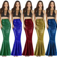 Women Sexy Maxi Long Shiny Mermaid Skirts Shiny Fish Scale Party Club Skirts P