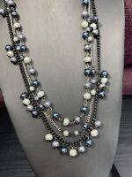 Vintage long Shades If Grey white pearl and beaded Multi 3 Strand Necklace 26""