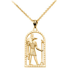 Solid Gold Egyptian Anubis Pendant Necklace