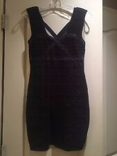 Forever 21 S Dress Bandage Bodycon Navy Metallic Shiny Cocktail Club Party Dress