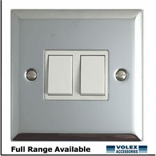 Volex 2 Gang 2 Way 10a Light Switch Polished Chrome With White Inserts