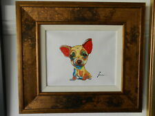 Very adorable chihuahua oil painting15.5x17 inches with frame signed..