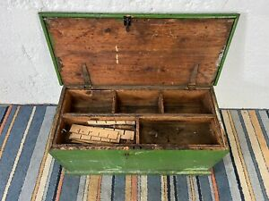 Vintage Large Green Painted Wooden Tool Box Trunk with Compartments
