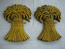 2 Vintage 1971 SEXTON Cast Iron Wheat Sheaves Wall Plaques