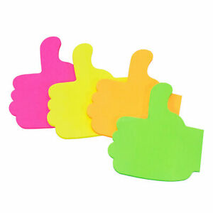 100 Novelty Thumbs Up Sticky Notes Neon Colour Adhesive Office Memo Pads