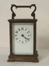 Antique Brass 8 Day Carriage Clock Beveled Glass Top w Key