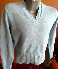 M True Vtg 1970's Mens Heather Blue V-Neck Acrylic Knit LS SWEATER WINTUK USA
