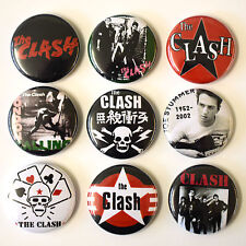 THE CLASH Punk Badges Buttons Pin Set Lot x 9 One Inch 25mm
