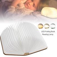 Lampade da tavolo in legno a forma di libro luce notturna ricaricabile LED Nuovo
