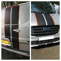 FORD TRANSIT CUSTOM MSPORT BONNET & REAR DOOR  KIT DECAL MATT BLACK AND ORANGE