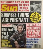 Sun Magazine July 1991 Tabloid Siamese Twins Pregnant Drunk Robin Hood Near Mint