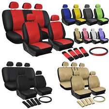 OxGord Faux Leather Car Seat Covers 17pc Set w/Steering Wheel/Belt Pad/Head Rest