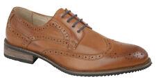 MENS SMART  Formal Wedding Brogue Tie Shoes - Black Tan Size 6 7 8 9 10 11 12 13