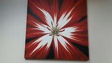 LARGE RED FLOWER STEM CANVAS 35 INCH SQUARE
