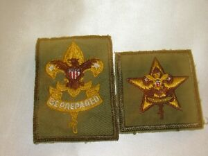 2 Vintage Boy Scouts of America BSA Star & 1st Class Patch Badges Green