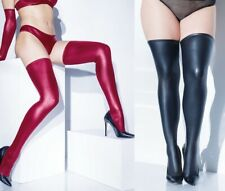 Black or Merlot Matte Wetlook Thigh High Stockings, Fetish, Dominatrix, Mistress