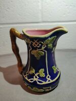Vintage Cream Pitcher*Majolica*Cobalt Blue*Leaf Design*JAY WILLFRED Andrea Sadek
