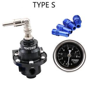 Black TOMEI Adjustable Fuel Pressure Regulator Universal With Gauge+Instructions