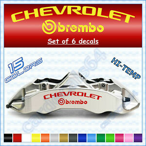 Chevrolet + Brembo ( 6 X Brake Caliper Decals Stickers ) High Temp Logo Vinyl S