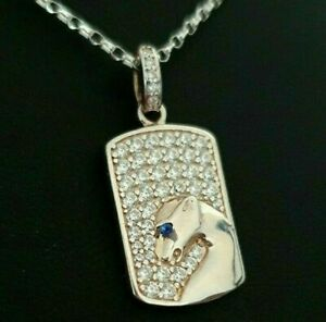 Sterling Silver 925 Simulated Diamond Panther Dog Tag Pendant Necklace Chain