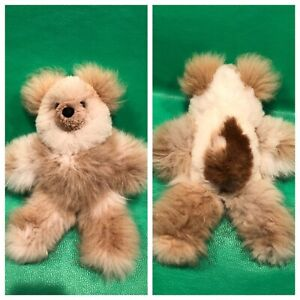 "Alpaca Woolly Teddy Bear Cream Tan Brown SOFT 12""Plush Stuffed Animal"