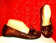 NEW SODA AMITY-S SZ 7 BRONZE BOW WITH FRINGE VAMP SOFT LIGHT WT MOCCASINS/LOAFER