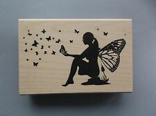 PEDDLER'S PACK RUBBER STAMPS BUTTERFLY FAIRY NEW wood  STAMP