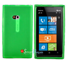 New GREEN Soft Gel TPU Cover Case For NOKIA Lumia 900 + Screen Protector