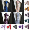 Wedding Paisley Men's Classic Tie Set Necktie Handkerchief Silk Jacquard Woven