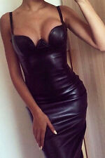 Unbranded Faux Leather Party Midi Dresses for Women