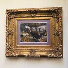 Gold Gesso Framed Art signed Ellison 1 of 1 -The Bad Bull - 98 Mono-imp 21-in