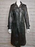 Wilson Leather Black Long Leather Jacket Punk Rocker Style with Pockets XS