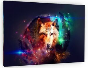 ABSTRACT SPACE WOLF CANVAS PICTURE WALL ART LARGE 799
