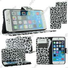 "Housse Coque Etui Portefeuille  PU Cuir Leopard Noir Apple iPhone 6S Plus 5,5"""