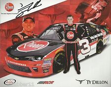 "SIGNED 2016 TY DILLON ""RHEEM RACING RCR CHEVY"" #3 NASCAR XFINITY SERIES POSTCARD"