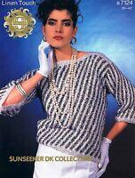 Lady Sweater Size 76 - 102 cm (30 - 40 in) Sirdar 7124 Vintage Knitting Pattern