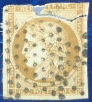 France oblitéré, n°1, 10c bistre-jaune Cérès, 1850