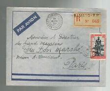 1939 Bamako MAli Airmail cover to Bon Marche Magazine paris France