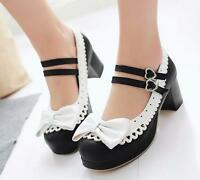 Lolita Womens Bowknot Ankle Strap Block Heels Mary Janes Cosplay Pumps Shoes SZ
