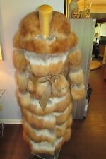 RARE Vtg SCHLAMPP'S Mpls Fox Fur Leather Full Length Convertible Coat/Jacket EXC