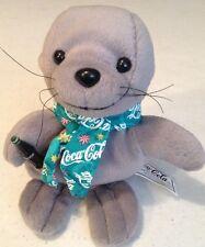 Rare COCA-COLA COKE BABY SEAL PLUSH DOLL 1999 Green Logo Scarf Gray Bean Bag
