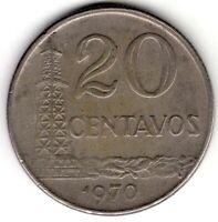 1970 BRAZIL 20 CENTAVOS WORLD COIN NICE!