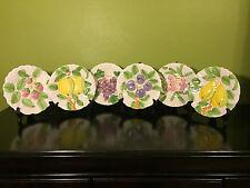 """6 Fruit Du Jour Shafford 8"""" Salad/Dessert Plates 1987 Japan Vintage Embossed"""