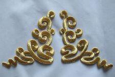 #3533 Gold Trim Fringe Boho Art Retro Embroidery Iron On Applique Patch/Pair