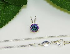 Rainbow Fire Mystic Topaz Sterling Silver Pendant  w/ Snake Chain Necklace
