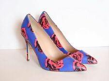 JCrew Roxie Printed Leather Pumps 7 Indigo Blue High-Heels Rose Print