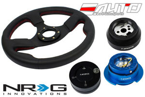 NRG 320 Race Leather Steering Wheel Red/170 Hub/2.5 BL Quick Release/Lock Matt a