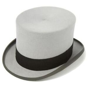 Grey Fur Felt Drab Top Hat - Christys Ascot - 64