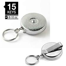 "Key-bak #5 Chrome Original Retractable Reel With 24"" Chain Keys Ring Belt Clip"