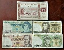 POLAND. COLD WAR ERA SET OF 5 VINTAGE BANKNOTES 50,100,500 AND 1000 ZLOTYCH /5